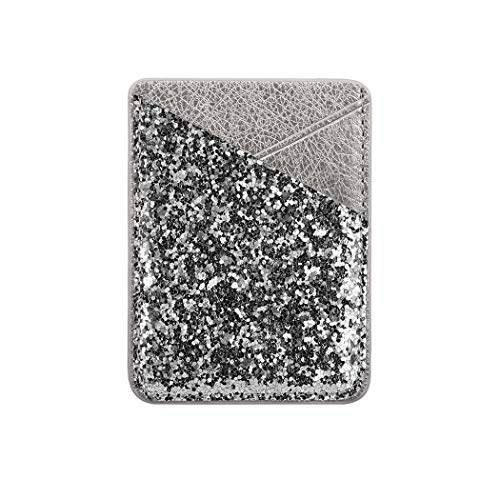Phone Card Holder, DECVO Case-Mate PU Leather Bling Glitter Phone Card Cash Credit Wallet Holder Removable Adhesive Stick-on Fits iPhone Samsung Galaxy Android Smartphones Multi Colors 1 Pack (Sliver)