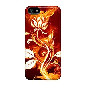 Rugged Skin Cases Covers For Iphone 5/5s- Eco-friendly Packaging(flaming Rose)