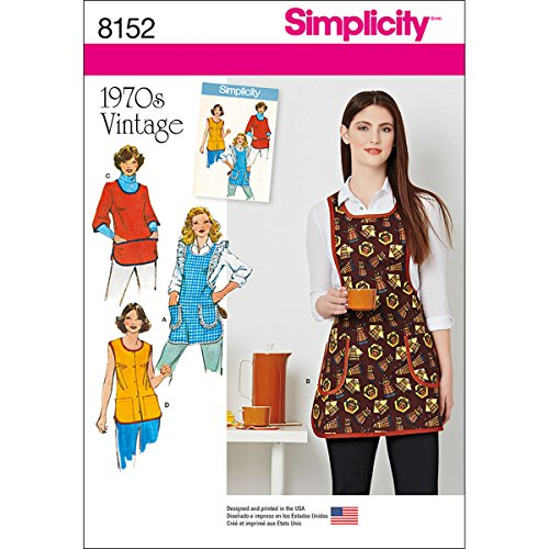 - Simplicity Vintage Sewing Template 8152, 1970's Fashion Vintage Apron Sewing Pattern, 4 Pieces, XS-L