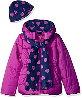 Pink Platinum Toddler Girls' Puffer Jacket with Heart Print Lining and Accessories, Purple Flower, 2T