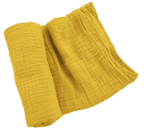 Mustard House - Sugar House Shop Premium 100% Imported Cotton, Thick and Durable Muslin Fabric Swaddle Blanket, Unmatched Comfort, Many Colors, for Infants and Toddlers, 47in x 47in, 8oz, Yellow Mustard