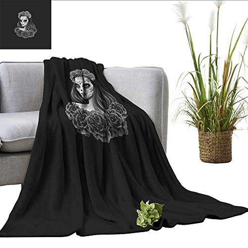 ScottDecor Day of The Dead Blanket for Sofa Couch Bed Gothic Young Girl in Calavera Make Up Hairstyle with Roses Cozy Blanket Charcoal Grey Pale Grey W60 ()