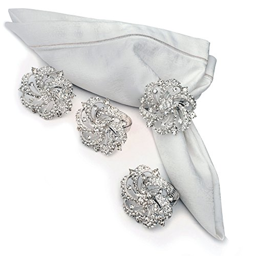 Nicole Fantini Collection Diamante Flower Brooches Napkin Rings Set of 4 Elegant Gift Box Included ()