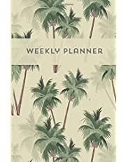 Weekly planner Agenda semanal Journal Calendar Palm trees vintage Retro style: Barcelover
