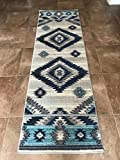Expressions South West Native American Indian Area Rug Turquoise Beige Blue Purple Design Bone 1033 (2 Feet 2 Inch X 7 Feet)