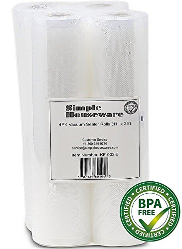 Best Prices! 4 Pack - SimpleHouseware 11 x 25' Commercial Vacuum Sealer Rolls Food Storage Saver Co...