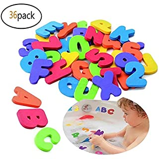 RONODA 36 Bath Letters & Numbers Eco-Safe Fun Educational Foam Baby Bath Letters and Perfect Toy Storage Net for Baby Bath Toys & More