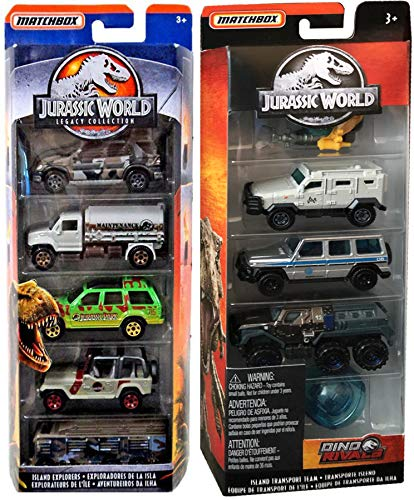 Rivals Dino Park Jurassic World Set Bundled with + Classic Legacy Collection Matchbox 5-Pack Island Explorers Off-Road Vehicles Team Deep-Dive Submarine Capsule Trucks / SUV / Ford Explorer