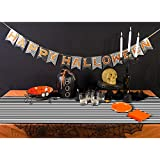BranXin(TM) Halloween Table Cloth 18235cm Black and White Stirped Tablecloth for Halloween Table Decoration Event Party Supplies