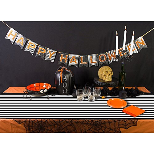 Gigamax(TM) Halloween Table Cloth 182*35cm Black and White Stirped Tablecloth for Halloween Table Decoration Event Party Supplies -