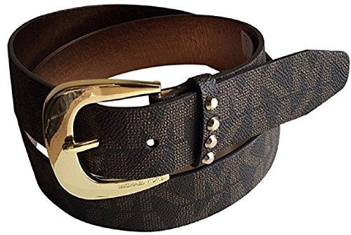 Michael Kors Mk Signature Logo Jacquard Brown Belt Goldtone Buckle M (Michael Kors Brown Belt)