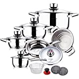 SWISS HUFEISEN 16 Pc Stainless Steel 9 Ply Bottom Premium Cookware Set (Induction Compatible) by SWISS HUFEISEN