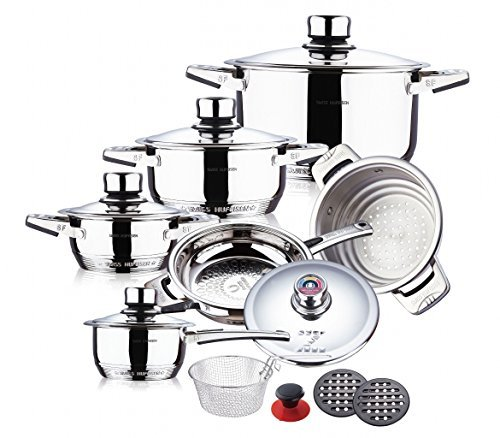 SWISS HUFEISEN 16 Pc Stainless Steel 9 Ply Bottom Premium Cookware Set (Induction Compatible)