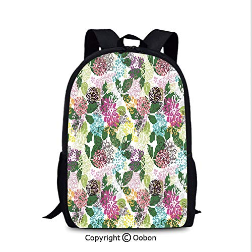 Outdoor Travel Backpack, Vibrant Flower Bouquet Botanical Beauty Artistic Blooms Inspiration Lifestyle, School Bag :Suitable for Men and Women, School, Travel, Daily use, etc.Multicolor