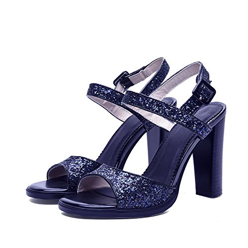 AllhqFashion Women's Patent Leather Buckle Open Toe High Heels Solid Sandals Black xVq1grY