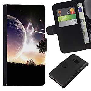KingStore / Leather Etui en cuir / HTC One M7 / Planeta extranjero Parallel Universe Cerrar Ver Art