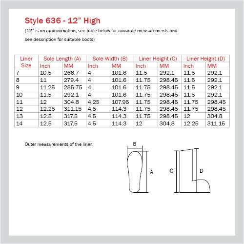 636 BOOT LINER - 12'' HIGH, SIZE 13 (6 PAIRS/CASE) by Nu-Source