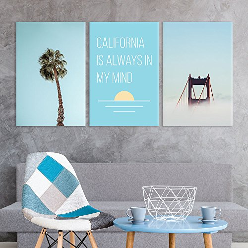 3 Panel Palm Tree and Golden Gate Bridge with California is Always in My Mind Quotes Gallery x 3 Panels