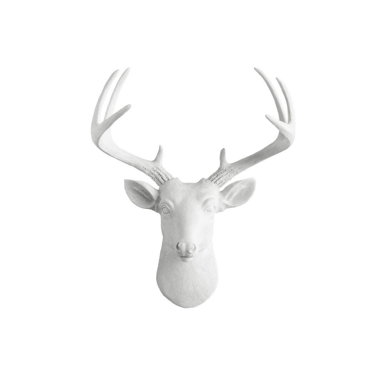 WallCharmers 14 Inch Mini White Faux Deer Head - Faux Taxidermy Animal Head Wall Decor - Handmade Farmhouse Decor - Fake Taxidermy Deer Antlers Gallery Wall Decor by Wall Charmers