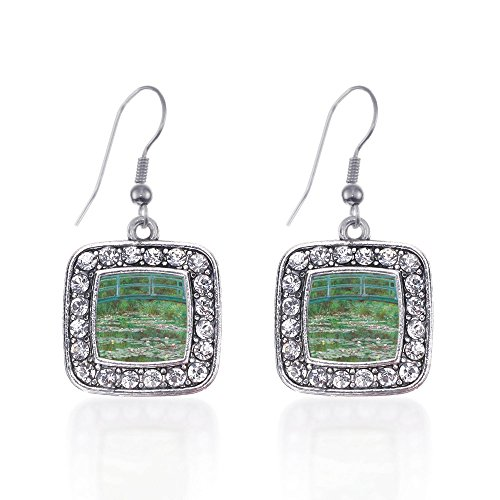 French Lily Hook (Inspired Silver Monet Lily Pond Classic Charm Earrings Square French Hook Clear Crystal Rhinestones)