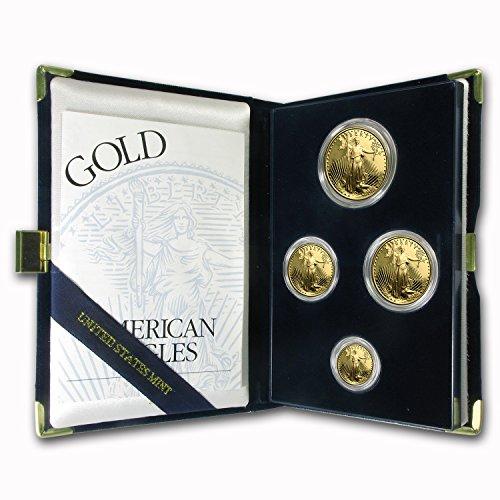 1995 W 4-Coin Proof Gold American Eagle Set (w/Box & COA) Brilliant Uncirculated