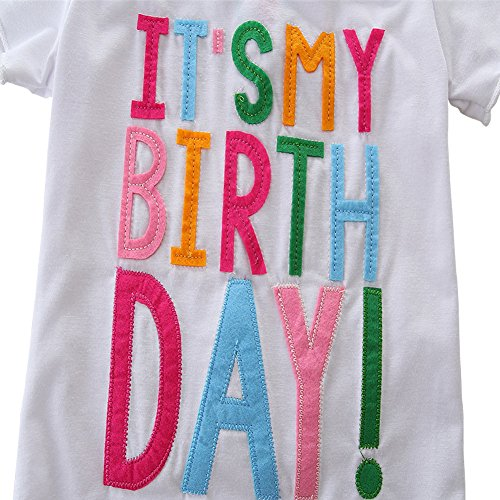 HBER 1-7T Baby Toddler Little Girls Birthday Clothes Letters T-Shirt + Colorful Rainbow Skirts Gift Outfits Set by HBER (Image #3)