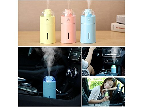 Yunqir Compatible Portable Vehicle Humidifier LED Projector Lamp Humidifier, Mini USB Air Humidifier DIY Home Decor Oil Diffuser Office/Home /Yoga/Spa(Pink)
