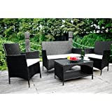 Merax 4 Piece Outdoor PE Rattan Wicker Sofa And Chairs Set Rattan Patio  Garden Furniture Set