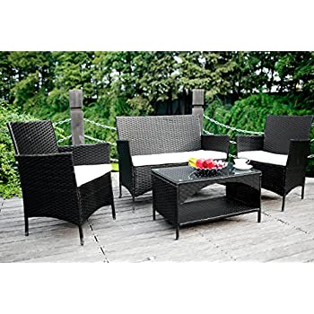 Amazon Com Merax 4 Piece Outdoor Pe Rattan Wicker Sofa