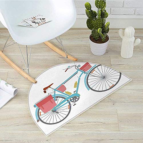 Bicycle Semicircular CushionClassic Touring Bike with Derailleur and Saddlebags Healthy Active Lifestyle Travel Entry Door Mat H 39.3