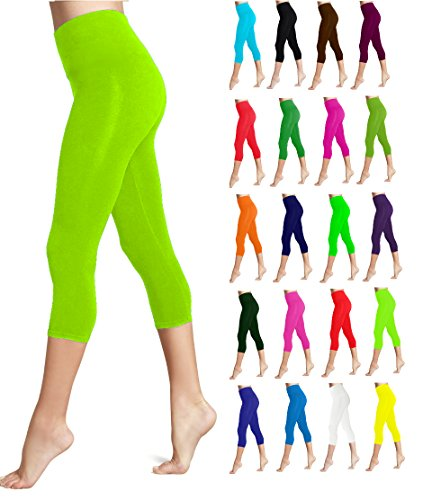 - Lush Moda Seamless Capri Length Basic Cropped Leggings - Variety of Colors - Lime OS