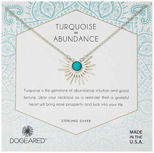 Dogeared Women's Silver Sun Ray Turquoise Chain Necklace