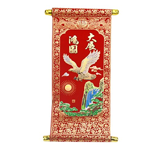 Feng Shui Chinese Red Wall Scroll Red Eagle & Waterfall for Success A2003 -
