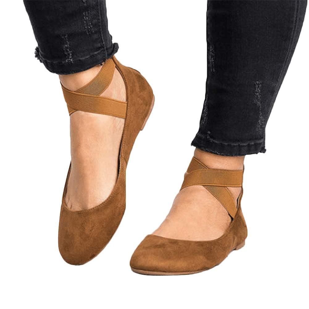 ShallGood Damen Geschlossene Ballerinas Flache Rund Toe Schuhe Sommer Sandaletten Flachen Frauen Knöchelriemchen Bequem Elegant
