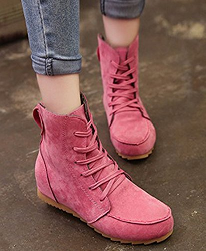 Aisun Up Chic Pink Faux Boots lace Suede Heighten Women's Heels qwqprtx4A