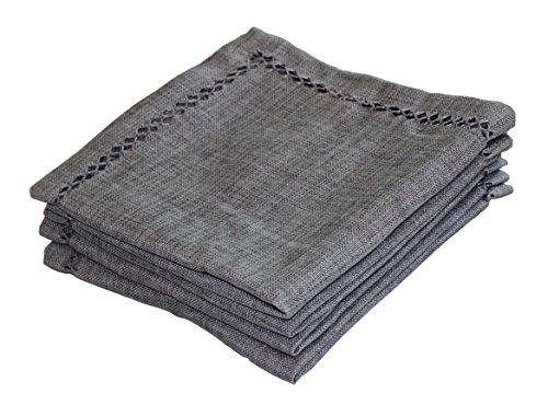 Violet Linen Hem Stitch Embroidered Vintage Design Tablecloth Set of 4, - Gray Design Violet