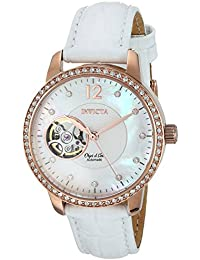 Women's Objet D Art Gold Automatic-self-Wind Watch with Leather Calfskin Strap, White, 15 (Model: 22622)