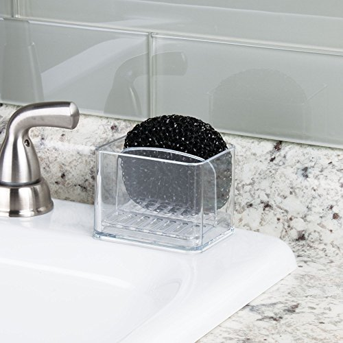 mDesign Kitchen Sink Double Holder for Sponges, Scrubbers - Pack of 2, Clear by mDesign (Image #2)