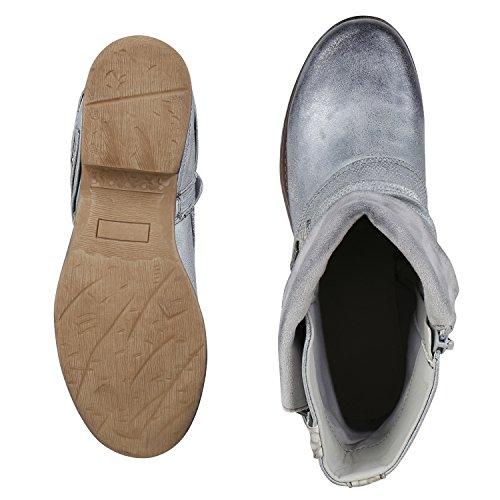 napoli-fashion - botas estilo motero Mujer gris plateado
