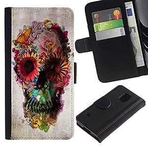 LASTONE PHONE CASE / Lujo Billetera de Cuero Caso del tirón Titular de la tarjeta Flip Carcasa Funda para Samsung Galaxy S5 V SM-G900 / Spring Deep Floral Butterfly Paper