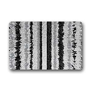 Blanco y Negro antideslizante de goma puerta Mat piso Doormats 23,6x 15,7pulgadas