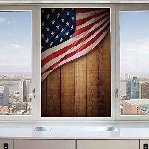 3D Decorative Privacy Window Films,USA Design on Vertical Lined Retro Wooden Rustic Back Glory Country Image,No-Glue Self Static Cling Glass Film for Home Bedroom Bathroom Kitchen Office 17.5x36 Inch ()