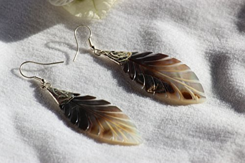 TRIBESMANGOLD-Mother of Pearl Earrings Brown-White Carved Extra Large MOP Long Leaf Shaped 3.4