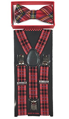New Style Toddler Kids Boys Girls Child Suspender Bow Tie (Black/Red Stripe) ()