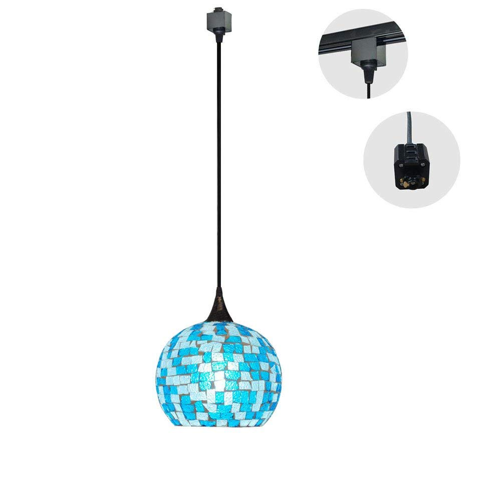 H-Type Track Lighting Fixture Mediterranean Tiffany Style Ceiling Pendant Fixture, 1-Light (Blue) Length of Wire 1m