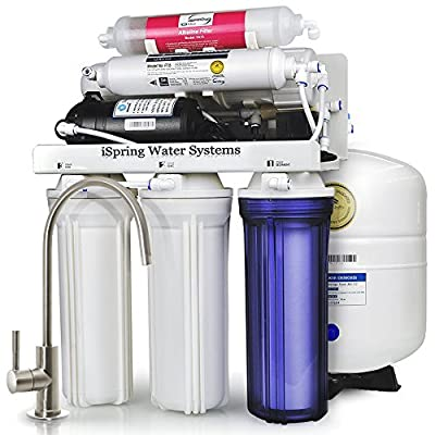 iSpring RCC7P-AK 6-Stage Residential Under-Sink Reverse Osmosis Water Filter System w/ Alkaline Remineralization Filter and Booster Pump - WQA Gold Seal Certified, 75 GPD