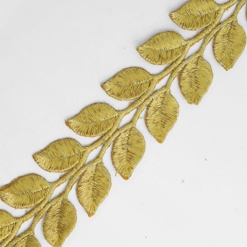 Iron on Metallic GOLD Leaves Trim for Bridal, Costume or Jewelry, Crafts and Sewing, 1-3/8 Inch by 1 Yard, SMB-3004