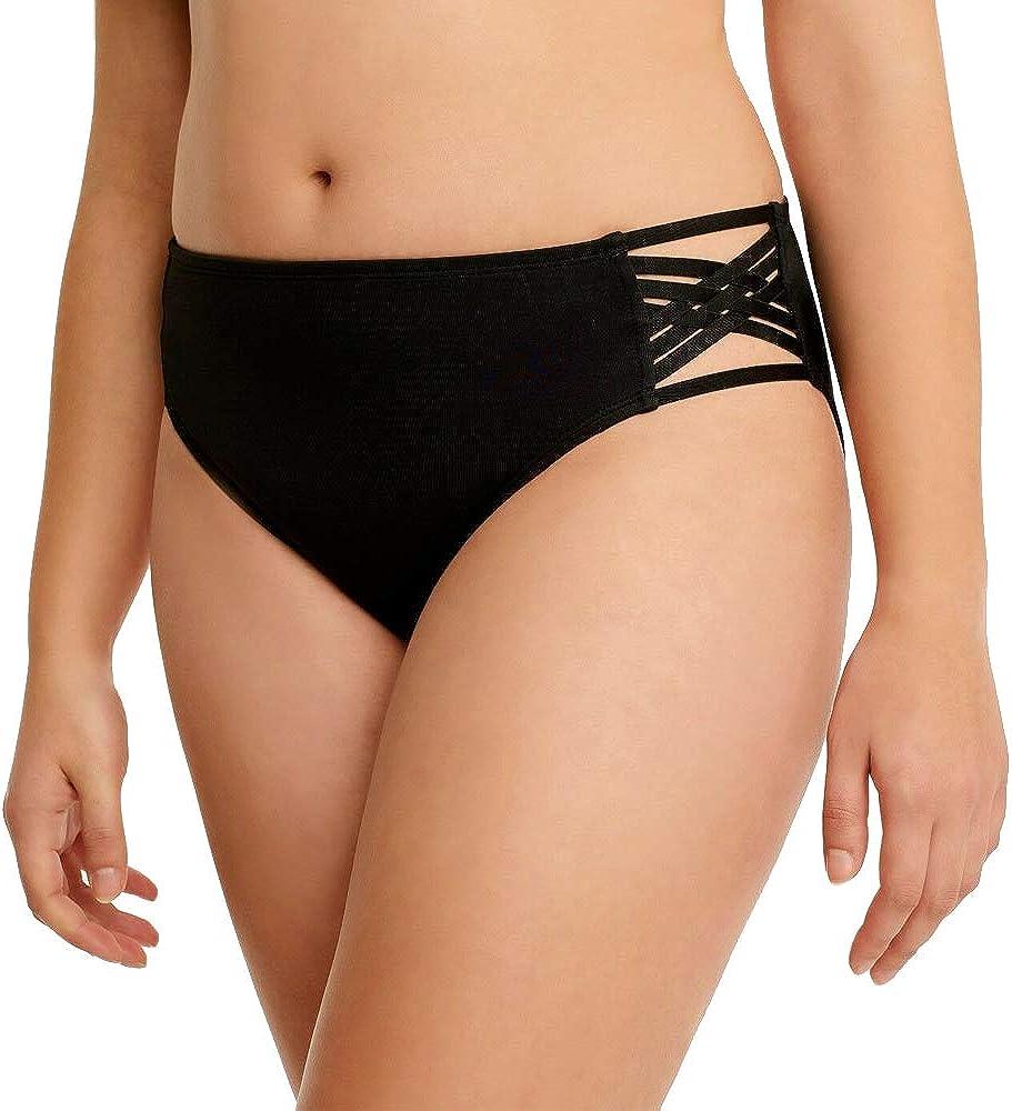 Miracle Brands Women's Slimming Control Strappy Bikini Swim Bottom - Black - Beach Betty (Medium)