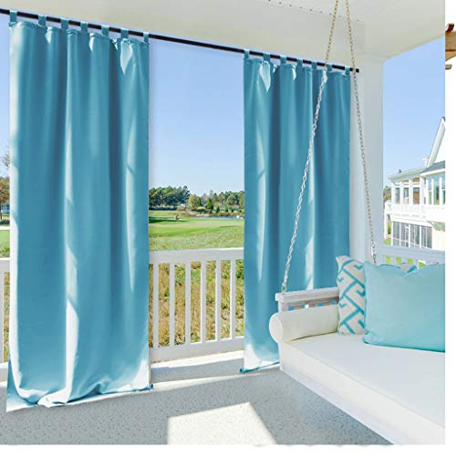 NICETOWN Outdoor Curtain Panel for Patio, Energy Efficiency Thermal Insulated Tab Top Blackout Outdoor Curtain (1 Panel,52 inches by 95 Inch, Teal Blue) (Best Curtains For Material Outdoor)