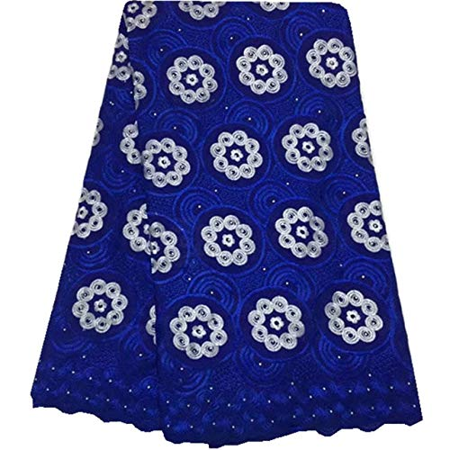 Laliva Royal Blue Nigerian Lace Fabrics African Swiss Voile Lace Swiss Voile Lace in Switzerland for Wedding 973 - (Color: As Picture) by Laliva (Image #7)